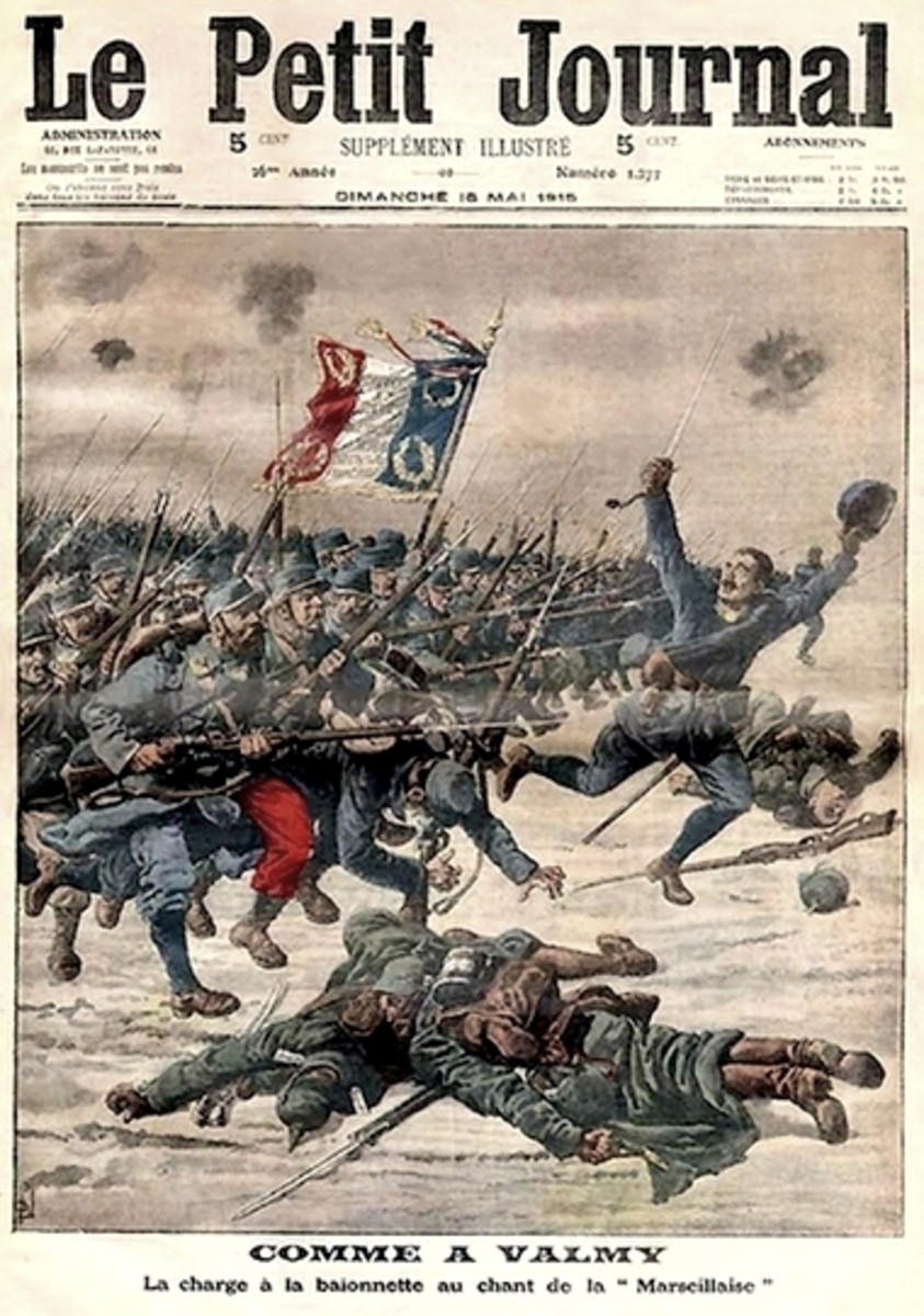 """Like at Valmy : The Bayonet Charge to the Chant of la Marseillaise."" Unfortunately, the Prussians at Valmy did not have machine guns, smokeless powder, and bolt-action rifles, while those in 1914 very much did."