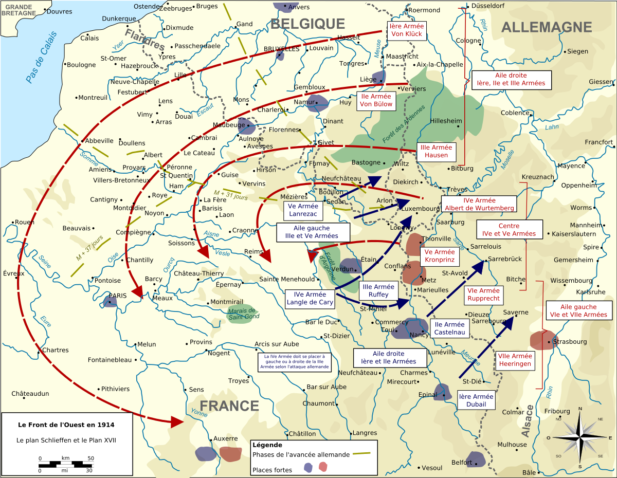 Plan XVII, an offensive plan to attack Germany in the center, faltered quickly in the face of German defense.  It did however, have the flexibility to enable a rapid redeployment north.