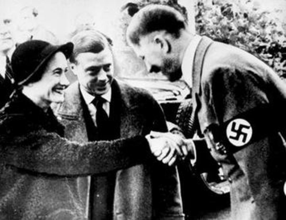 Smiles all around as the Windsors meet Hitler.