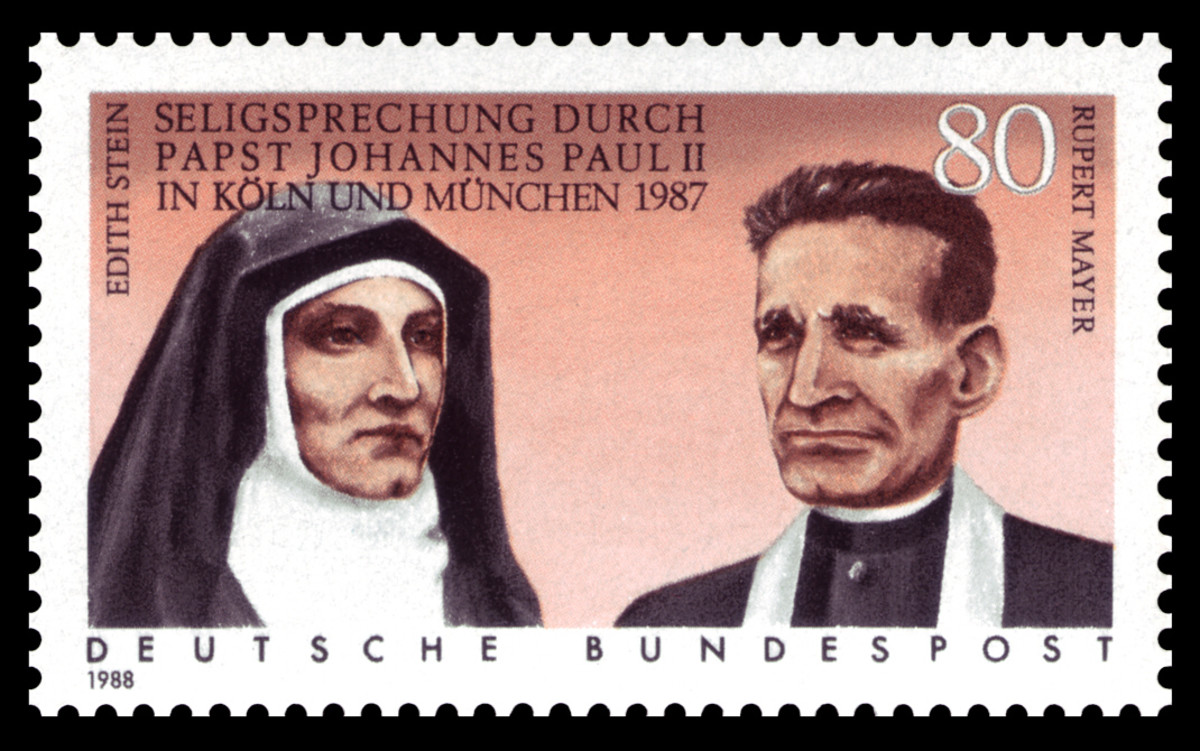 A postage stamp depicting Edith and the Jesuit priest, Rupert Mayer, who was also persecuted by the Nazis.