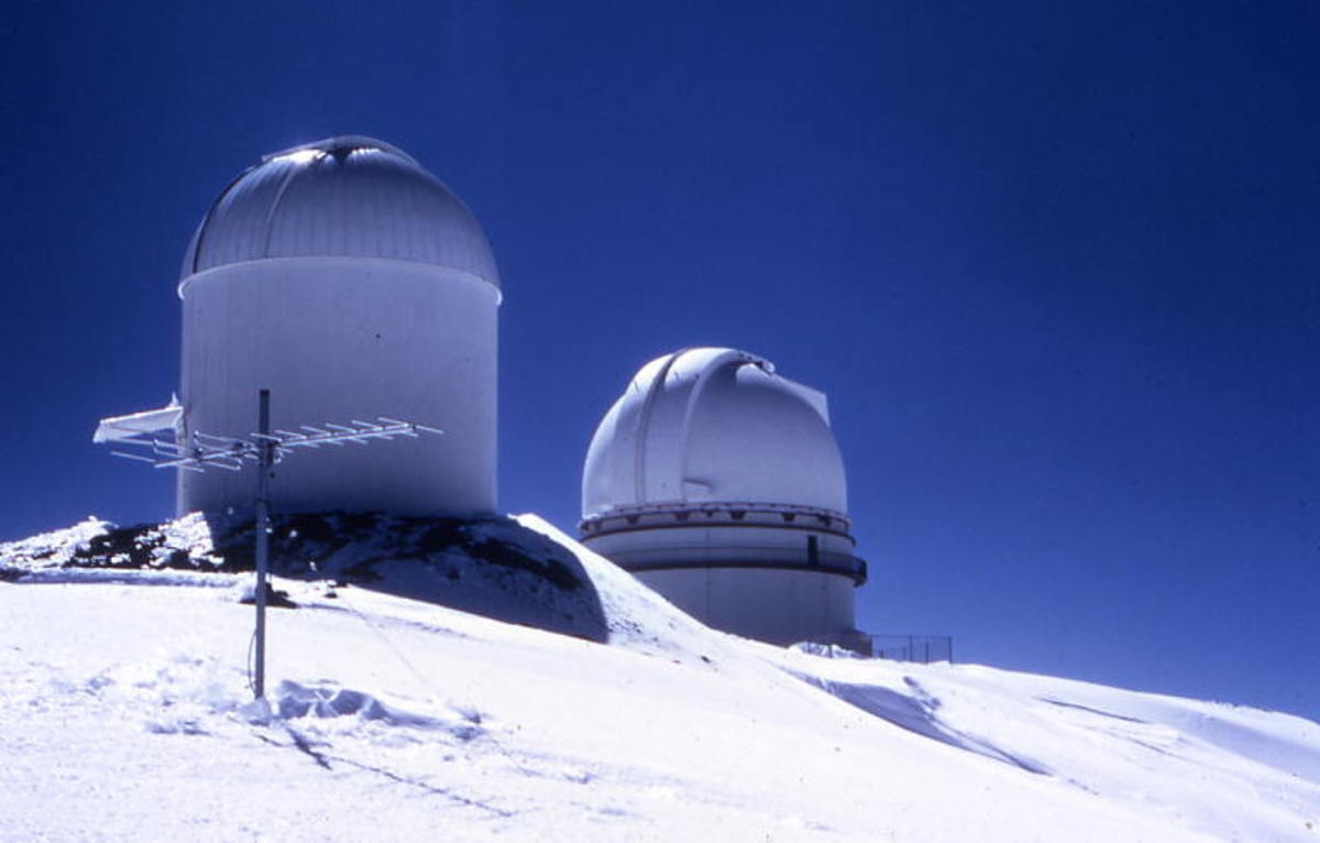 Winter at the Haleakala Observatory on top of Hawaii's tallest mountain, can involve snow