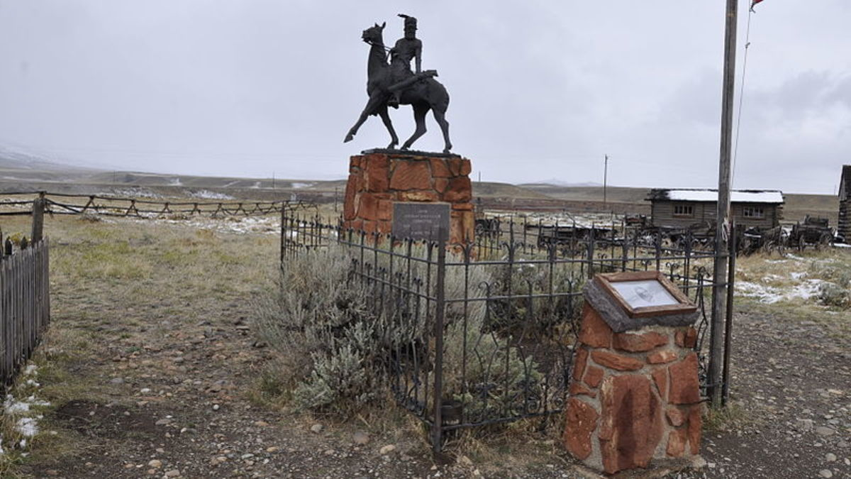 The elaborate grave of Liver-Eating Johnston in Cody, Wyoming.