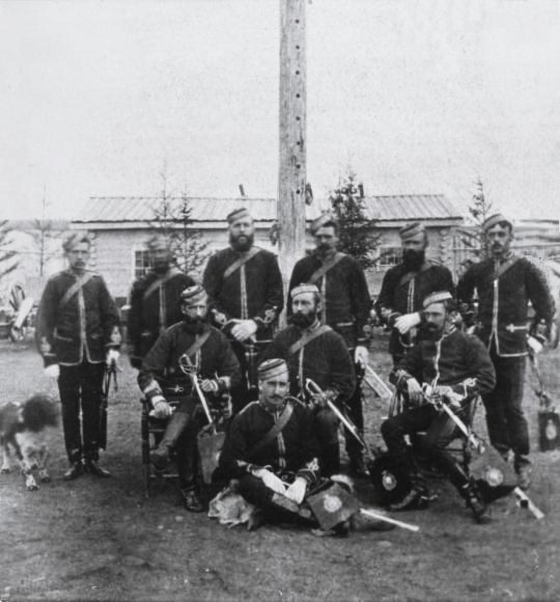 Mounties at Fort Walsh, Saskatchewan 1878.