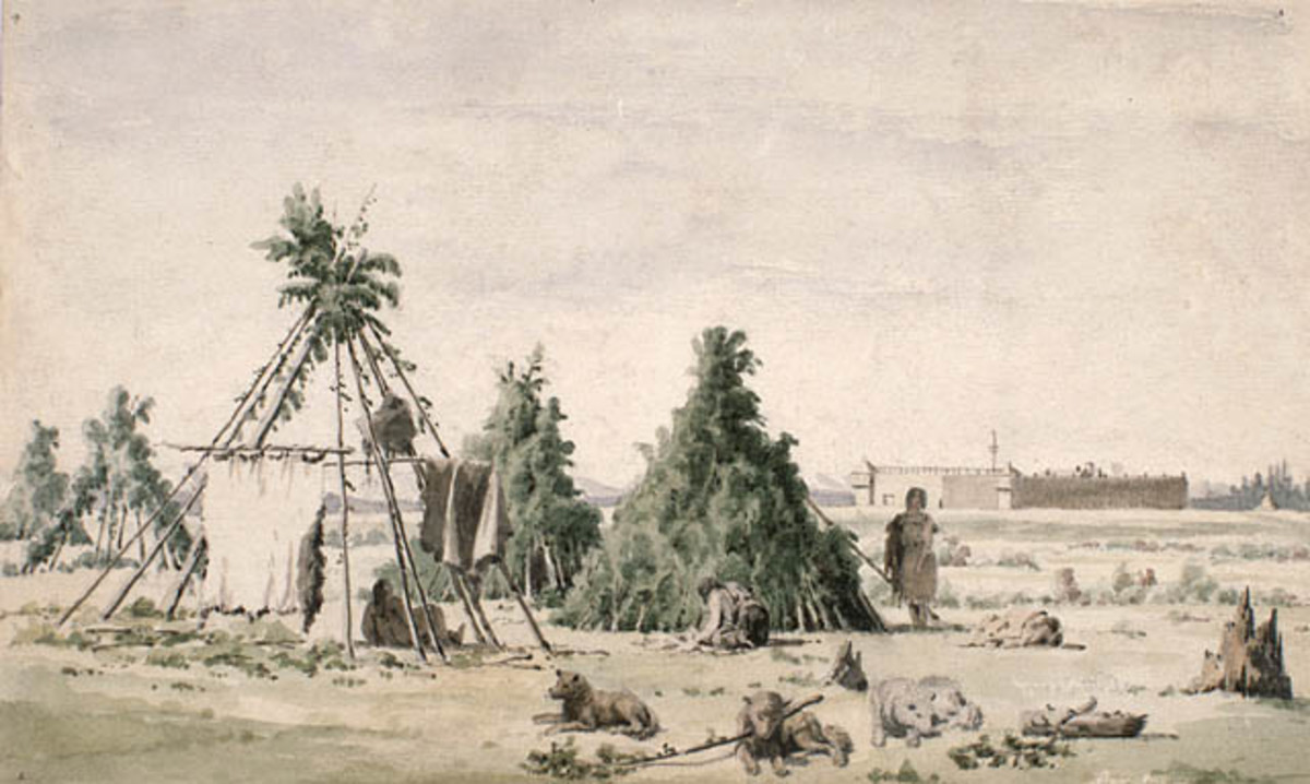 Assiniboine or Cree lodges in 1848.
