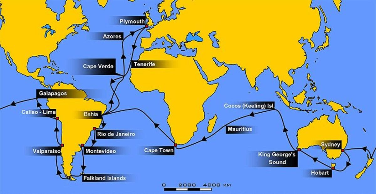 The HMS Beagle visited many countries during its 5-year journey.