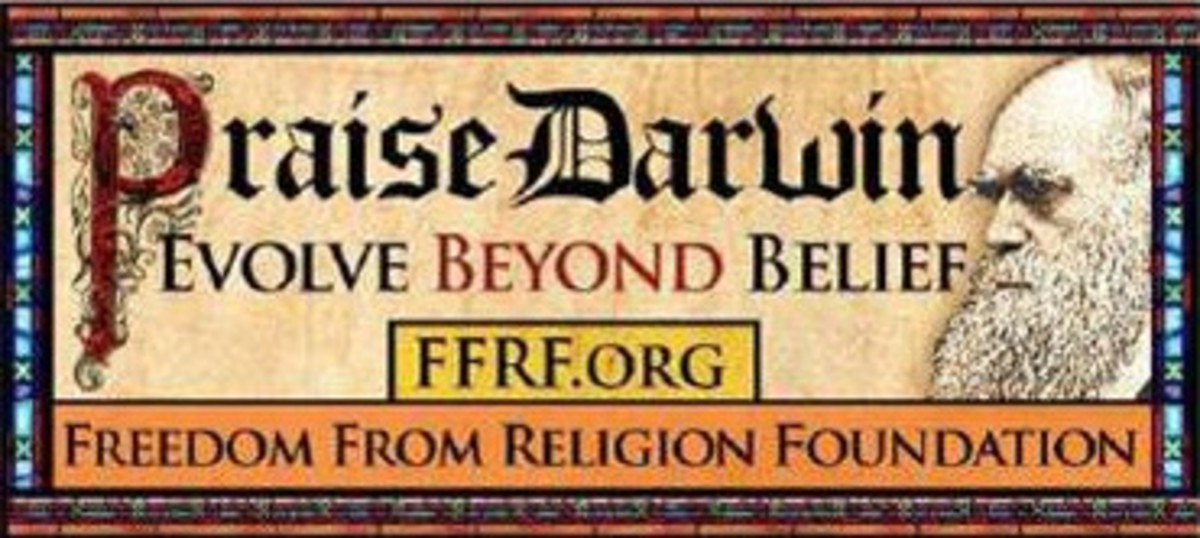 This billboard from the Freedom from Religion Foundation is a perfect image for a Darwin Day celebration.