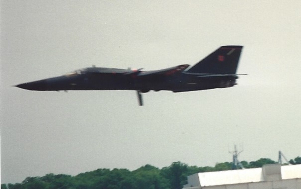 An F-111 making a low level pass at Andrews AFB, MD, May 1991.