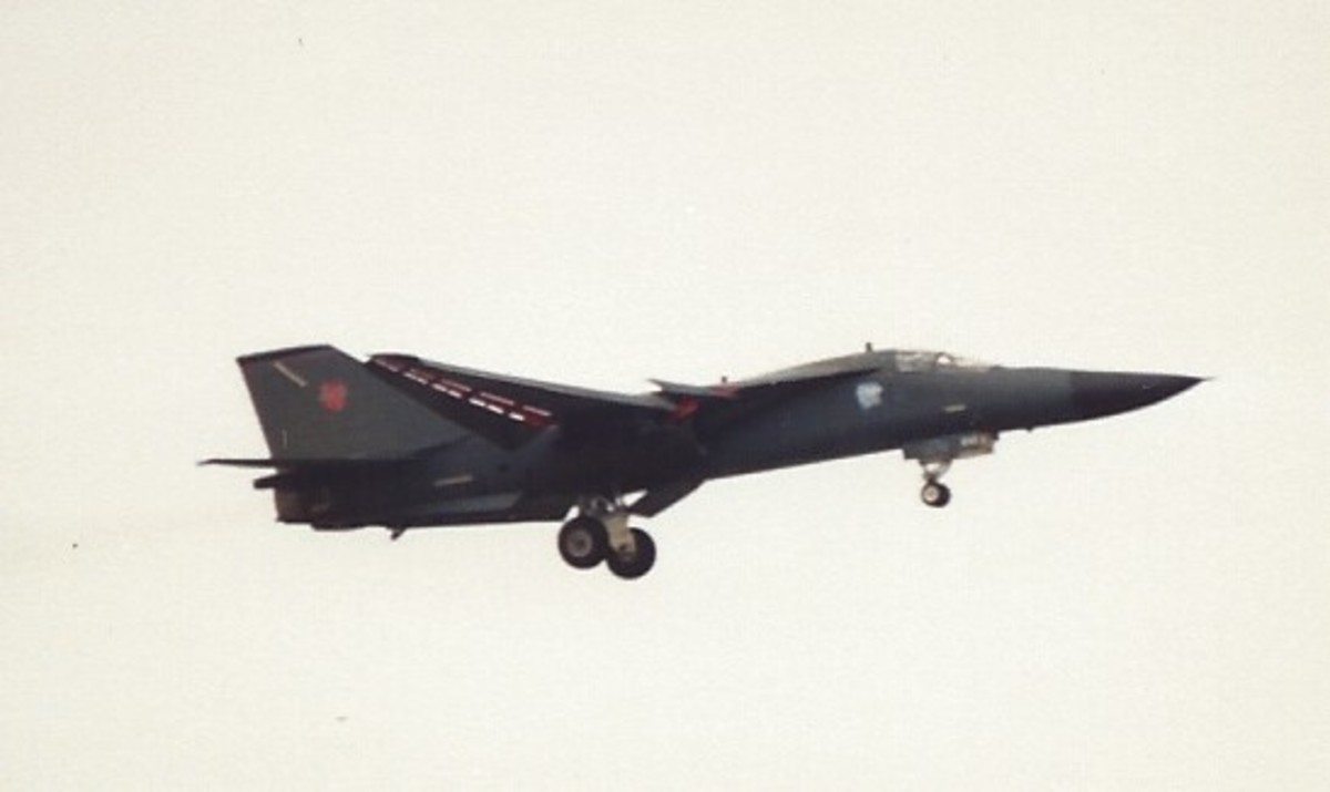 An F-111 over Andrews AFB, May 1991.