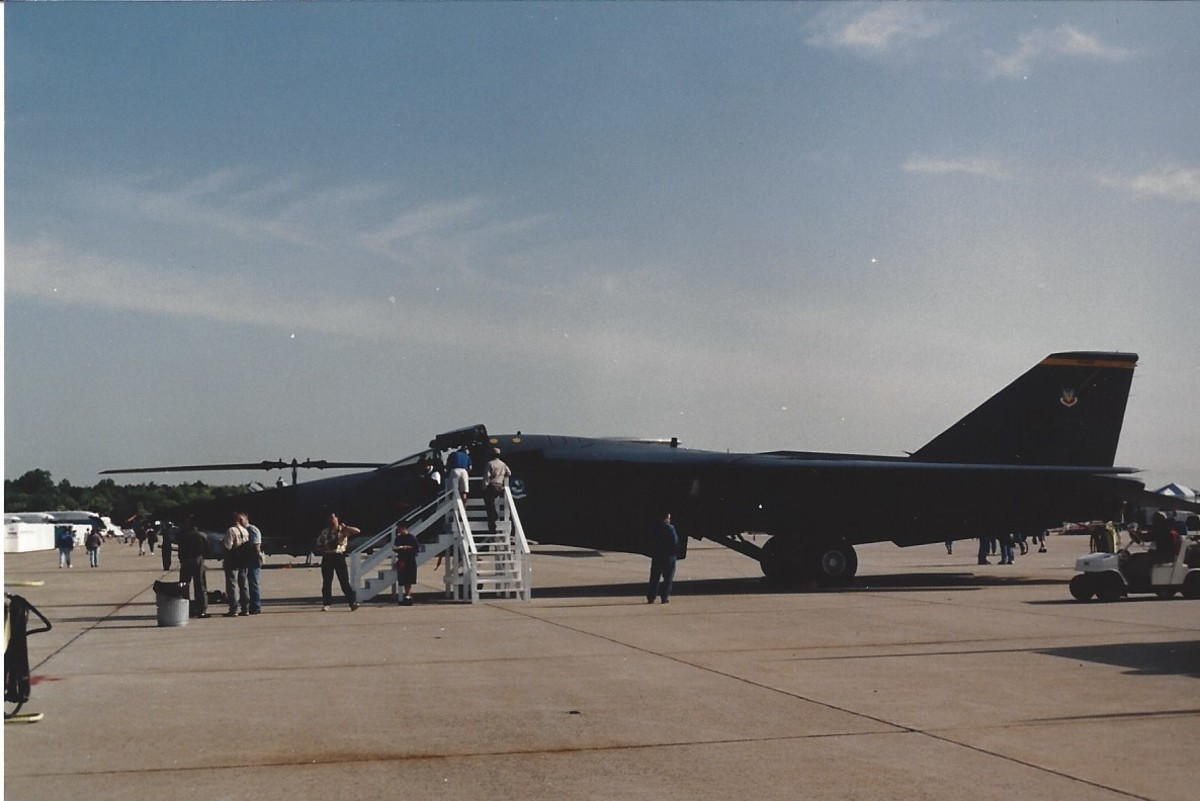 An F-111 on static display at Andrews AFB, MD, May 1991.