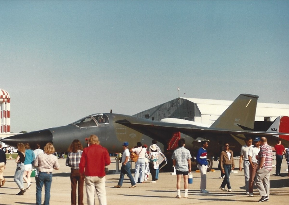 An F-111 on static display at Andres AFB.