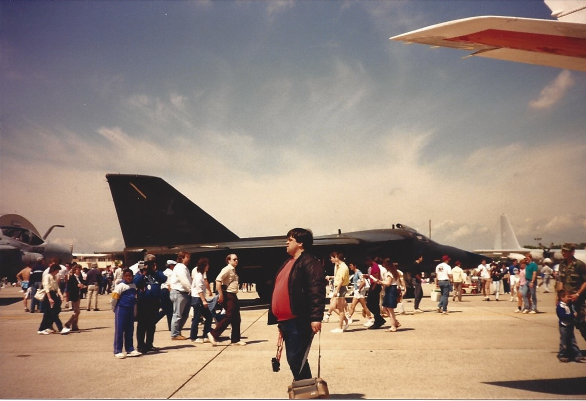 An F-111 on static display at Andrews AFB, 1989.