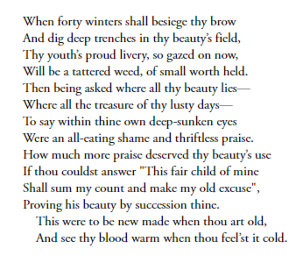 Sonnet 2 by William Shakespeare