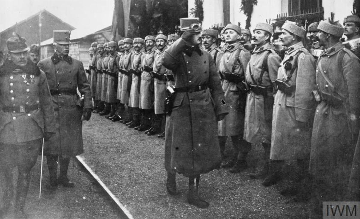 Emperor Karl I inspecting a Bosnian regiment.