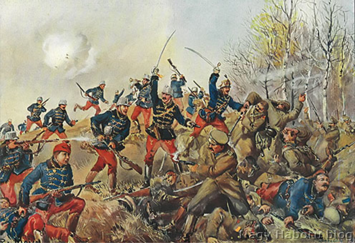 Austrian and Russian troops at the battle of Limanova, Galicia.