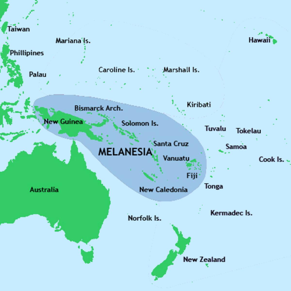Tok Pisin is spoken throughout Melanesia.