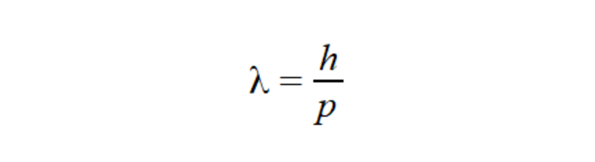 De Broglie's equation for the wavelength associated with a massive particle that has a momentum, p. Where h is Planck's constant.