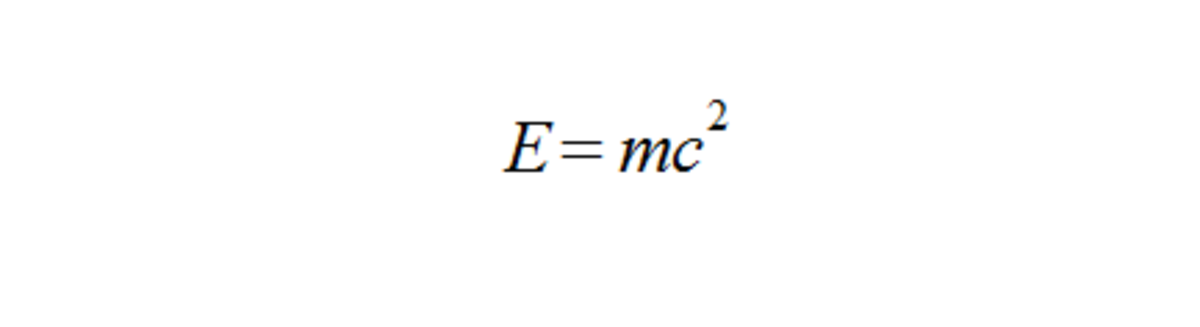 Einstein's equation for equivalence between energy, E, and mass, m. Where c is the speed of light in a vacuum.