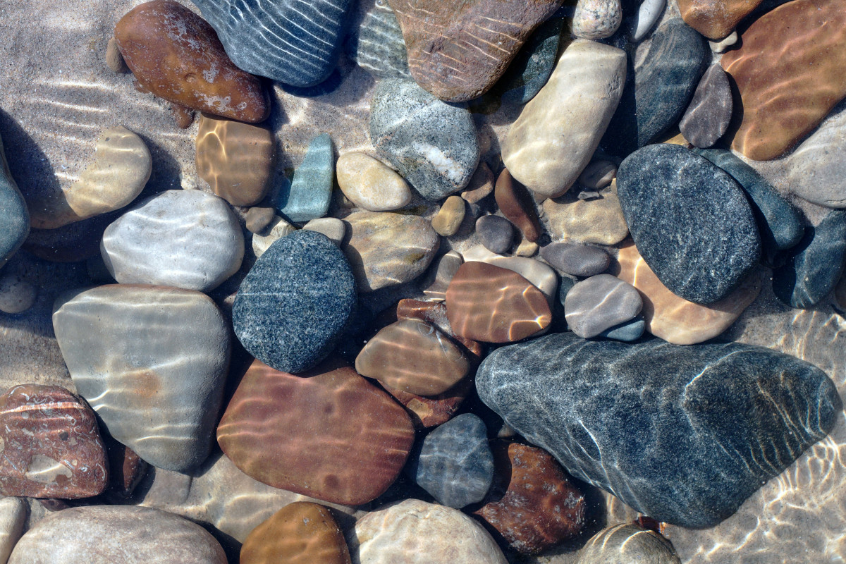 Beach Pebbles, Boulders and Cobble Stones Lake Michigan