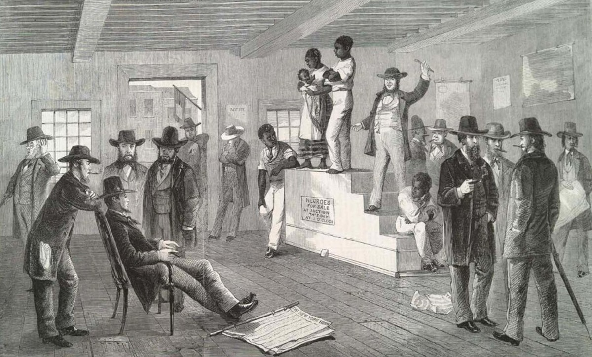 Slaves on the auction block being sold to the highest bidder in Richmond, VA.