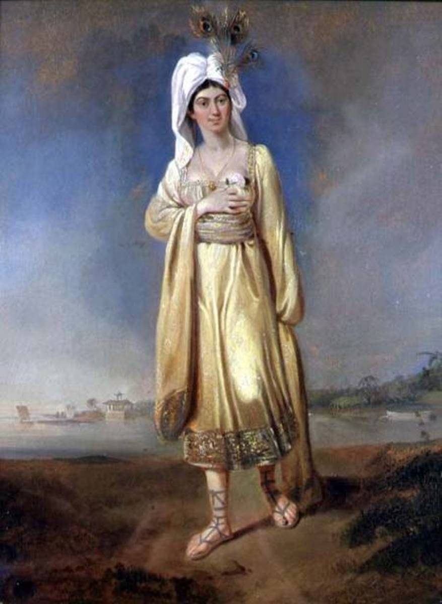 Princess Caraboo in imagined native dress painted in oils by Edward Bird.