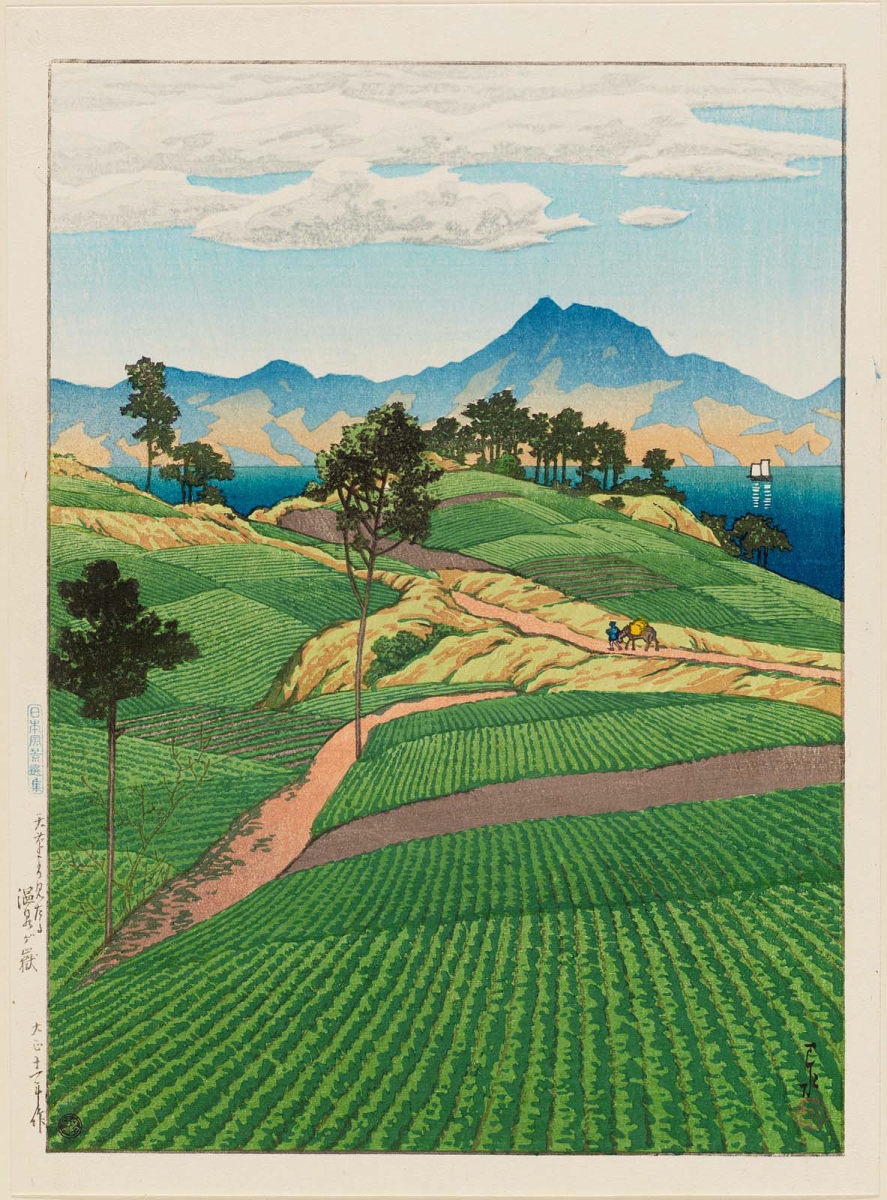 A picture of the Japanese countryside by Hasui Kawase , an image which was constructed and utilized.