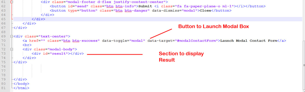 Code to launch Modal Box and Display Result