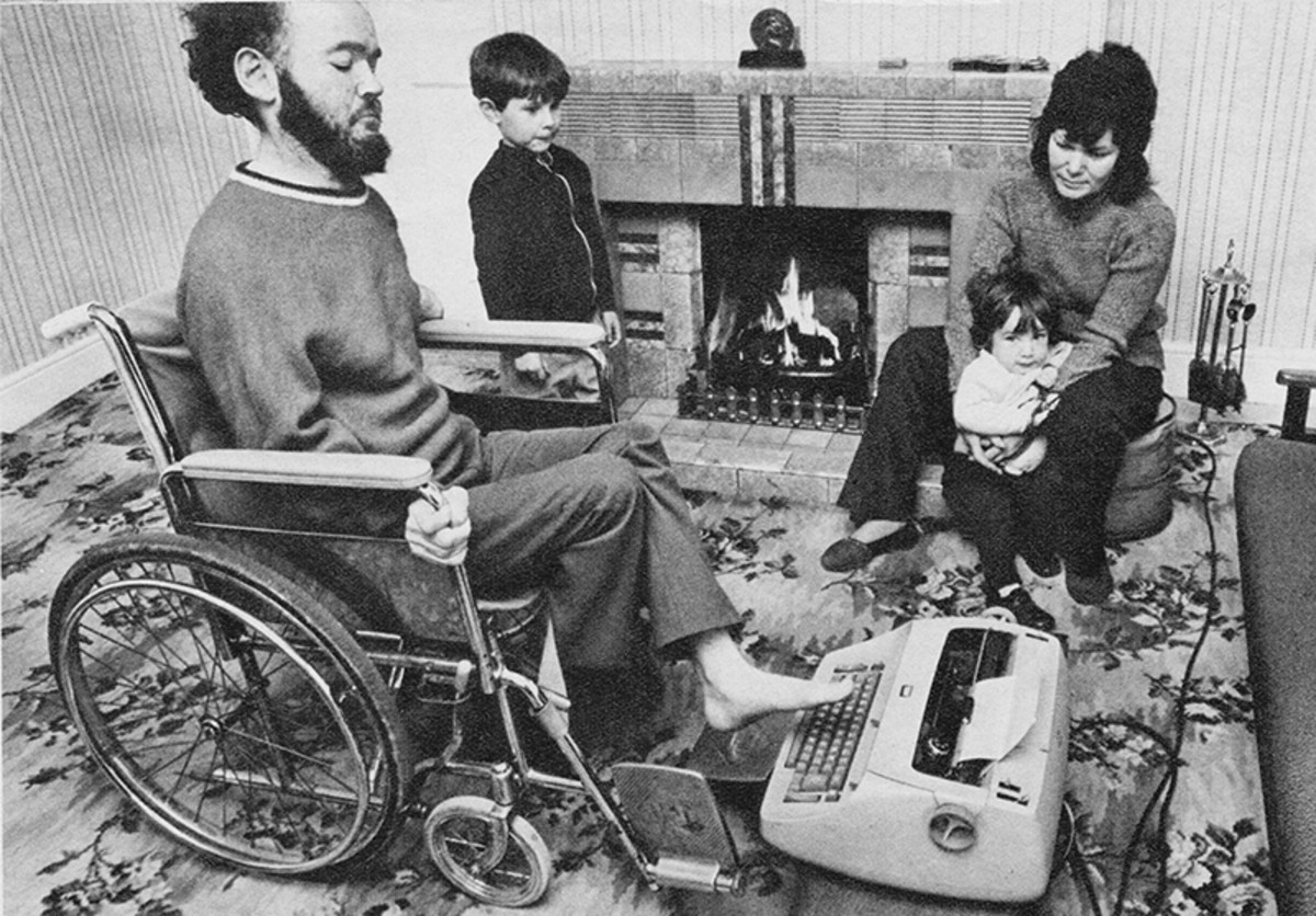 Christy Brown working in his house