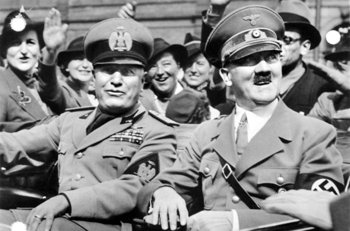 Benito Mussolini (left and Hitler in 1938.