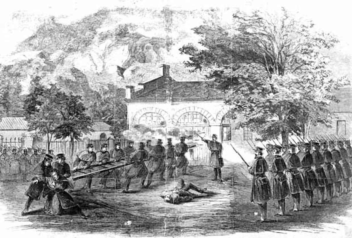 Harper's Weekly Illustration of U.S. Marines attacking the firehouse which John Brown used as a fort during his raid on Harper's Ferry.