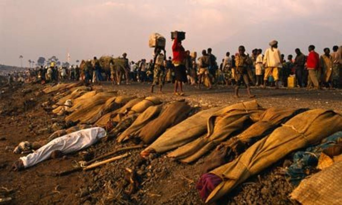 A Mass Grave Discovered After the Rwandan Genocide