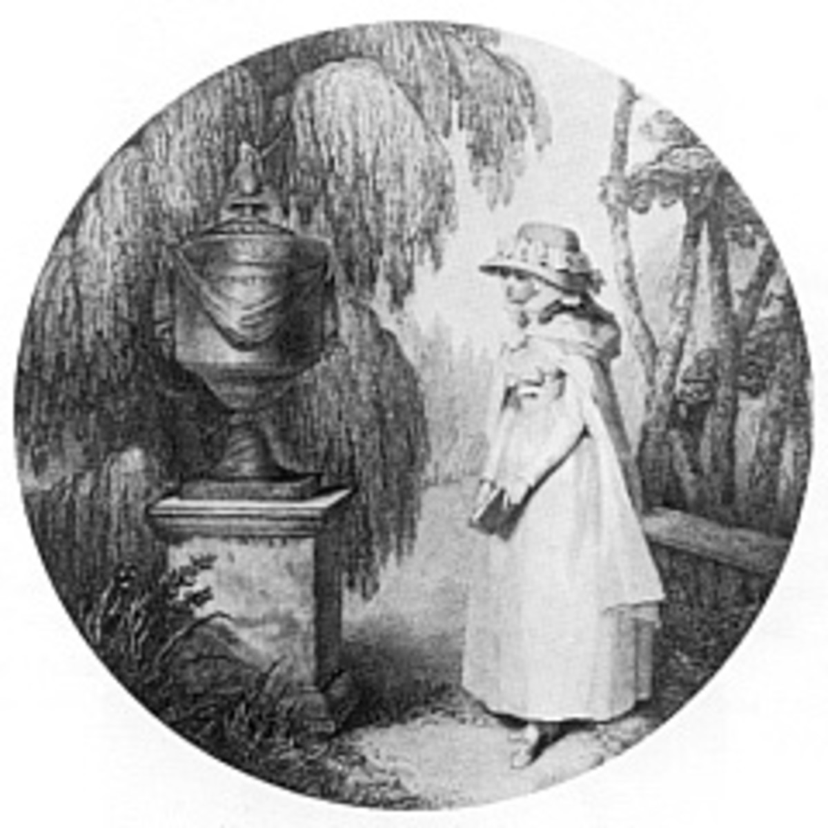 Illustration of Charlotte at Werther's tomb (1783)