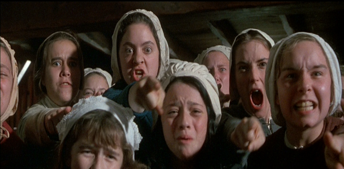 The girls in the film adaptation of Arthur Miller's The Crucible.