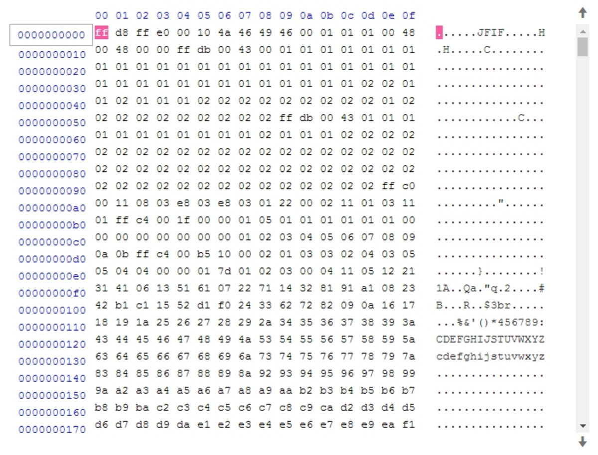 "A ""hex dump"" or byte value listing of a JPG file as viewed in a file editor. On the left, each byte is displayed as a hex value. On the right, alphanumeric characters corresponding to ASCII values of the bytes are shown."