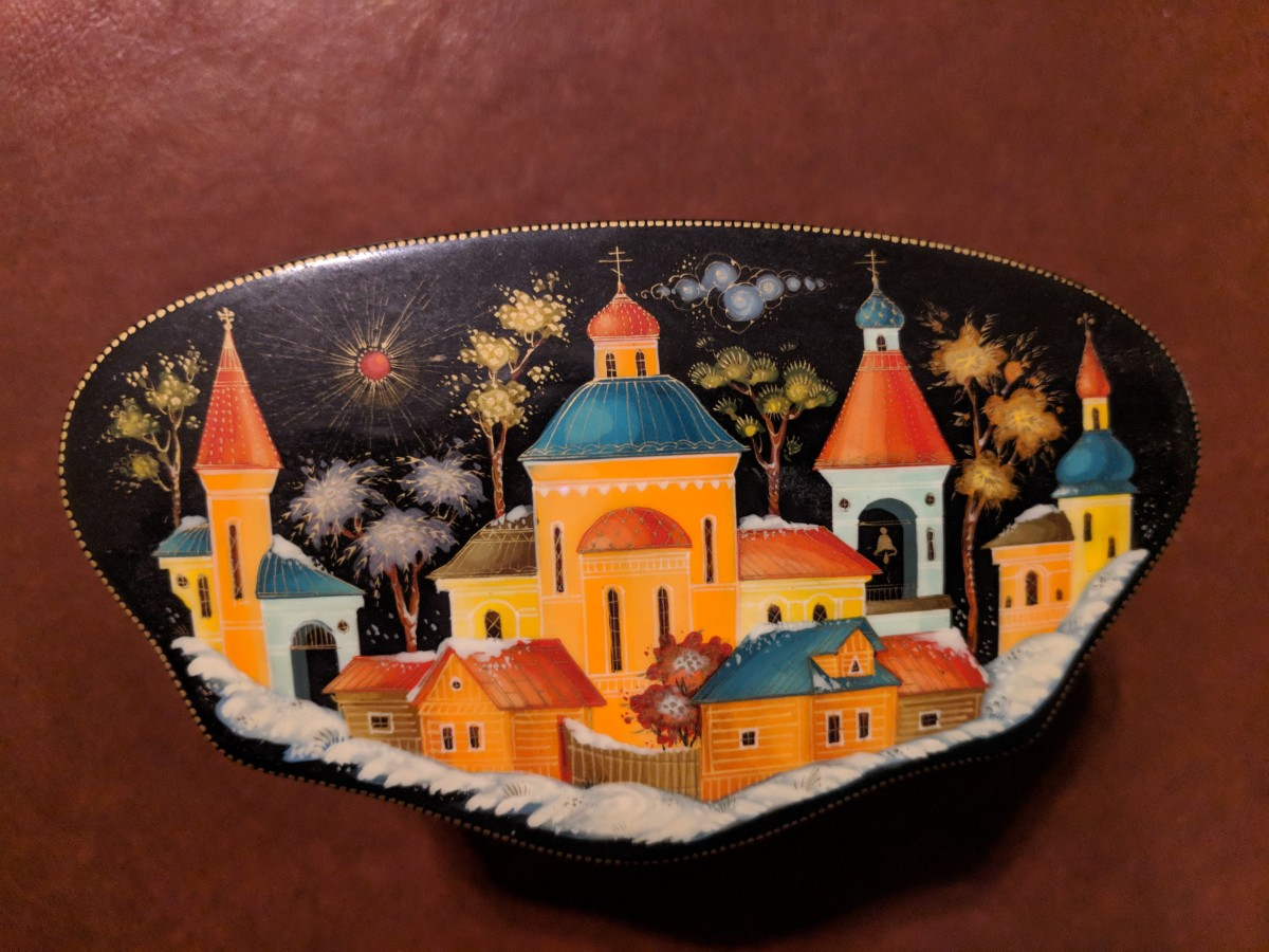 Miniature box with classic picture of a Russian Village in Winter
