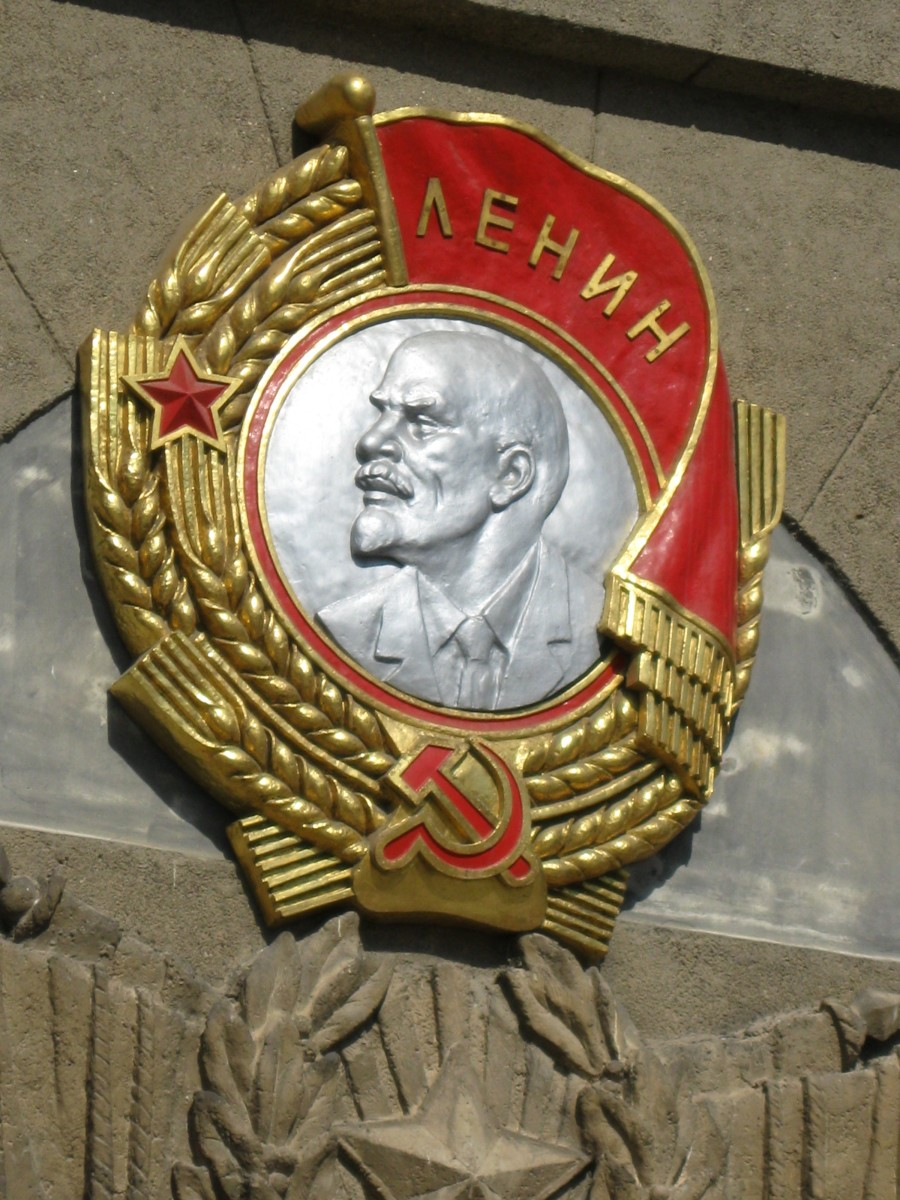 Relief of Vladimir Lenin over entrance to Central Administration building for the Novgorod Oblast in Veliky Novgorod, Russia.
