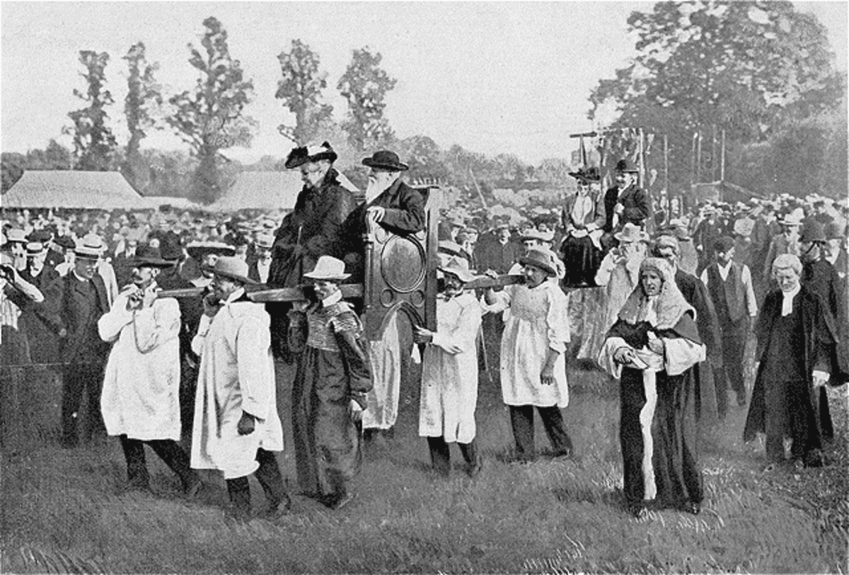 The Dunmow Flitch ceremony captured on film in 1905.
