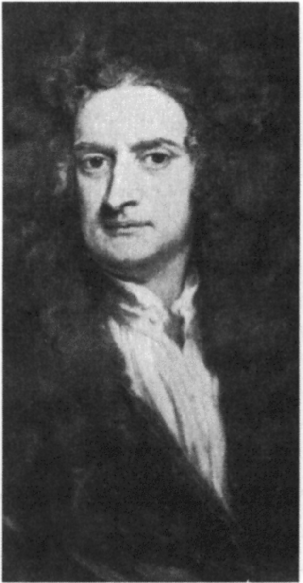 A portrait of Sir Isaac Newton, the father of modern physics