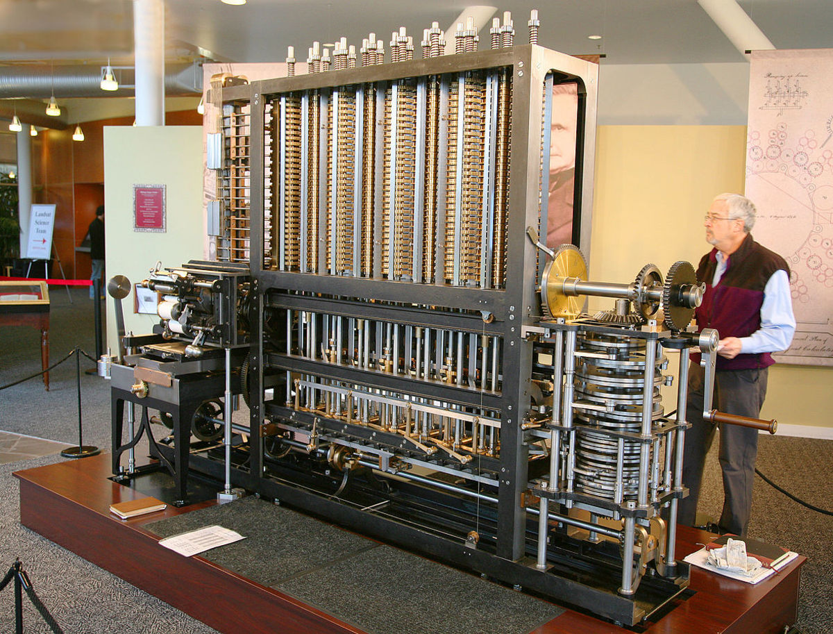 The first complete Babbage Engine was completed in London in 2002, 153 years after it was designed. Difference Engine No. 2, built faithfully to the original drawings, consists of 8,000 parts, weighs five tons, and measures 11 feet long This one is S
