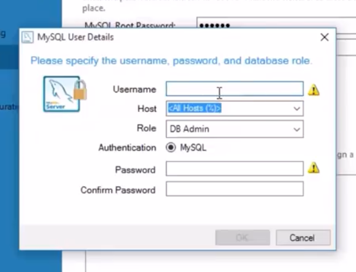 Add a user by assigning username and password.