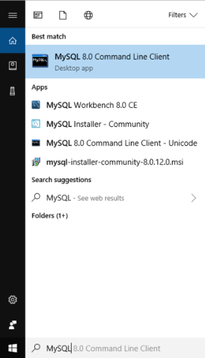 "Search for ""MySQL"" from your search box on Windows."