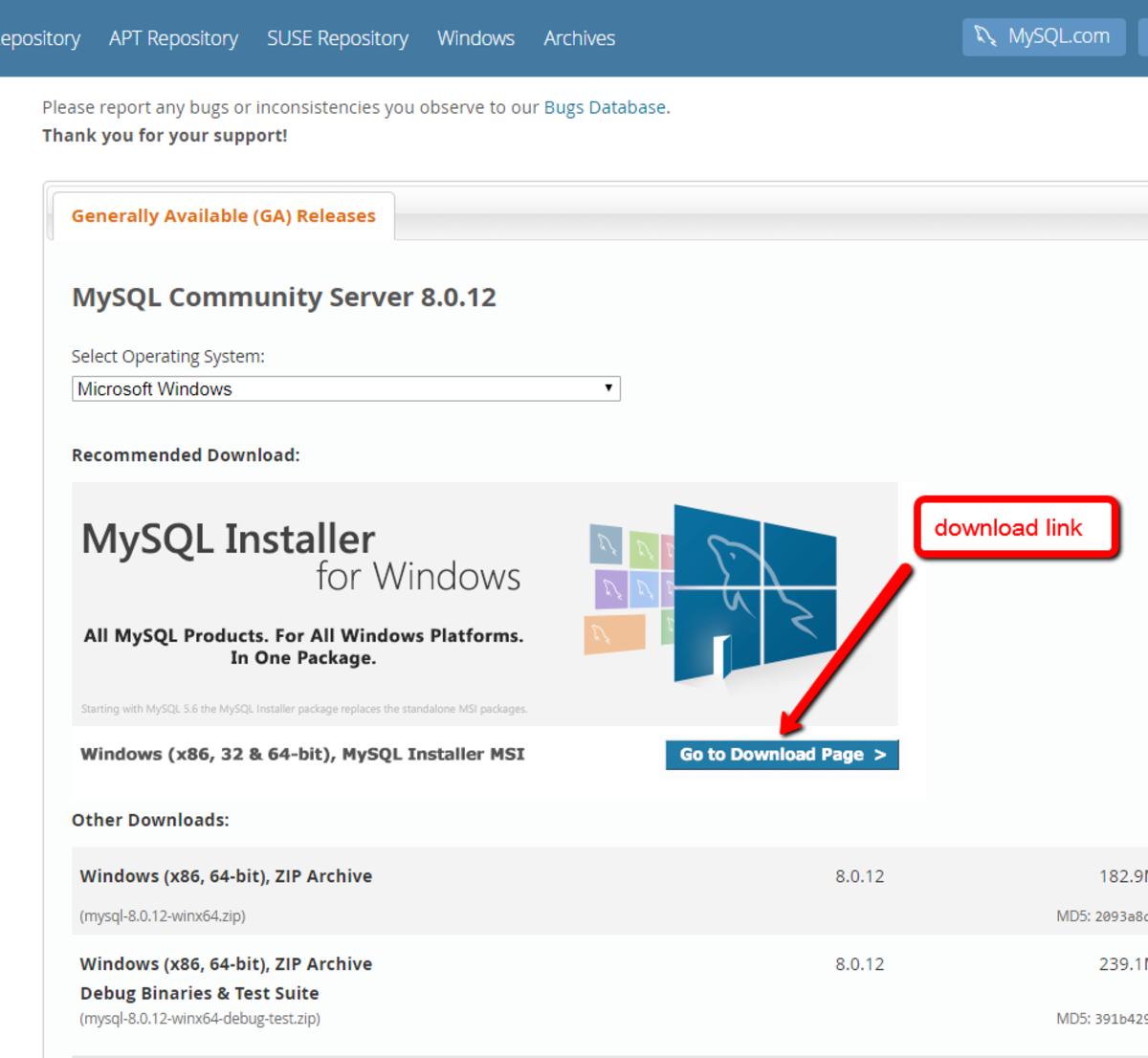 Find the download link for the community server installer.