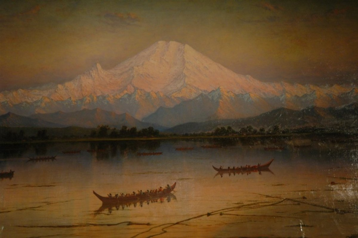 Mount Ranier as viewed from Eliot Bay in 1889, just five years before the mountain underwent a minor eruption at the summot. painting by James Eliot Stuart