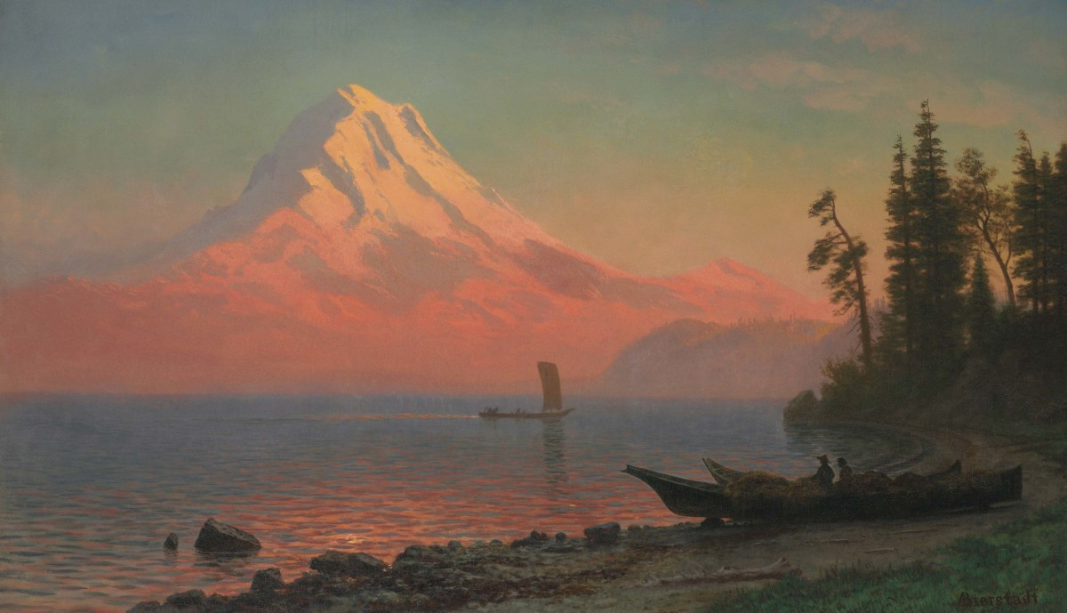 This picturesque sunset view of Mt. Hood was painted by Albert Bierstadt, sometime in the 1860s.