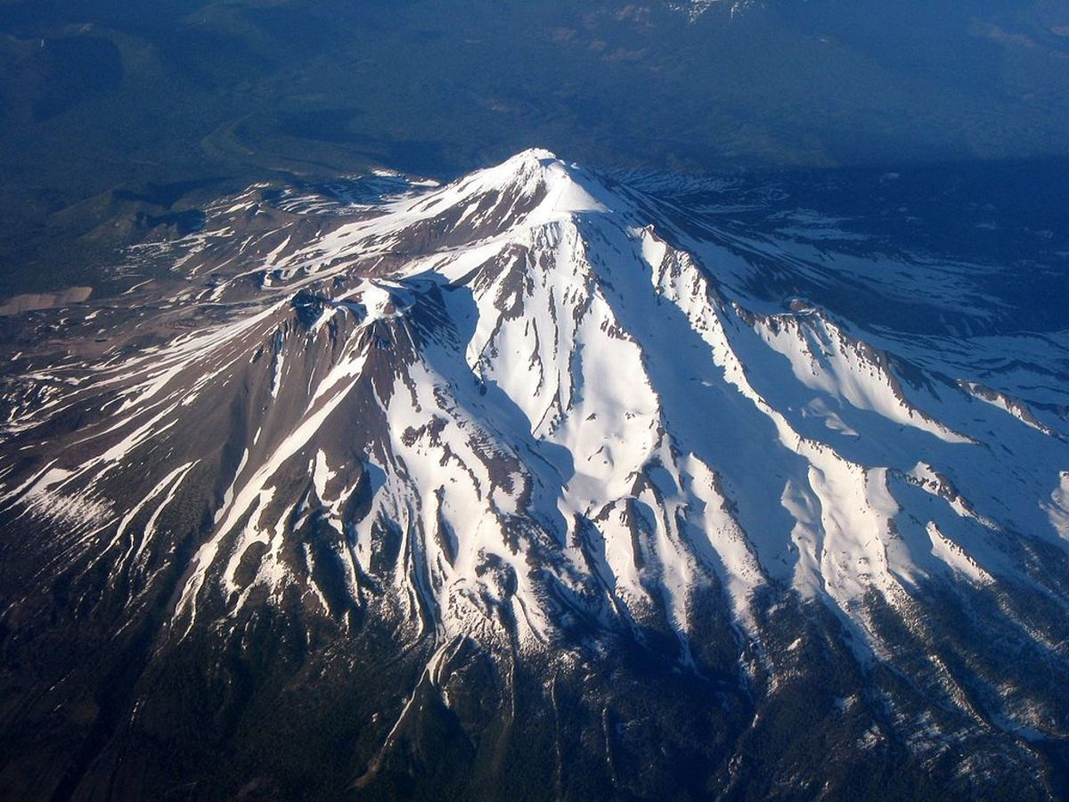 Mt. Shasta in California is often snow-covered and has a glacier (Whitney Glacier) on its west flank