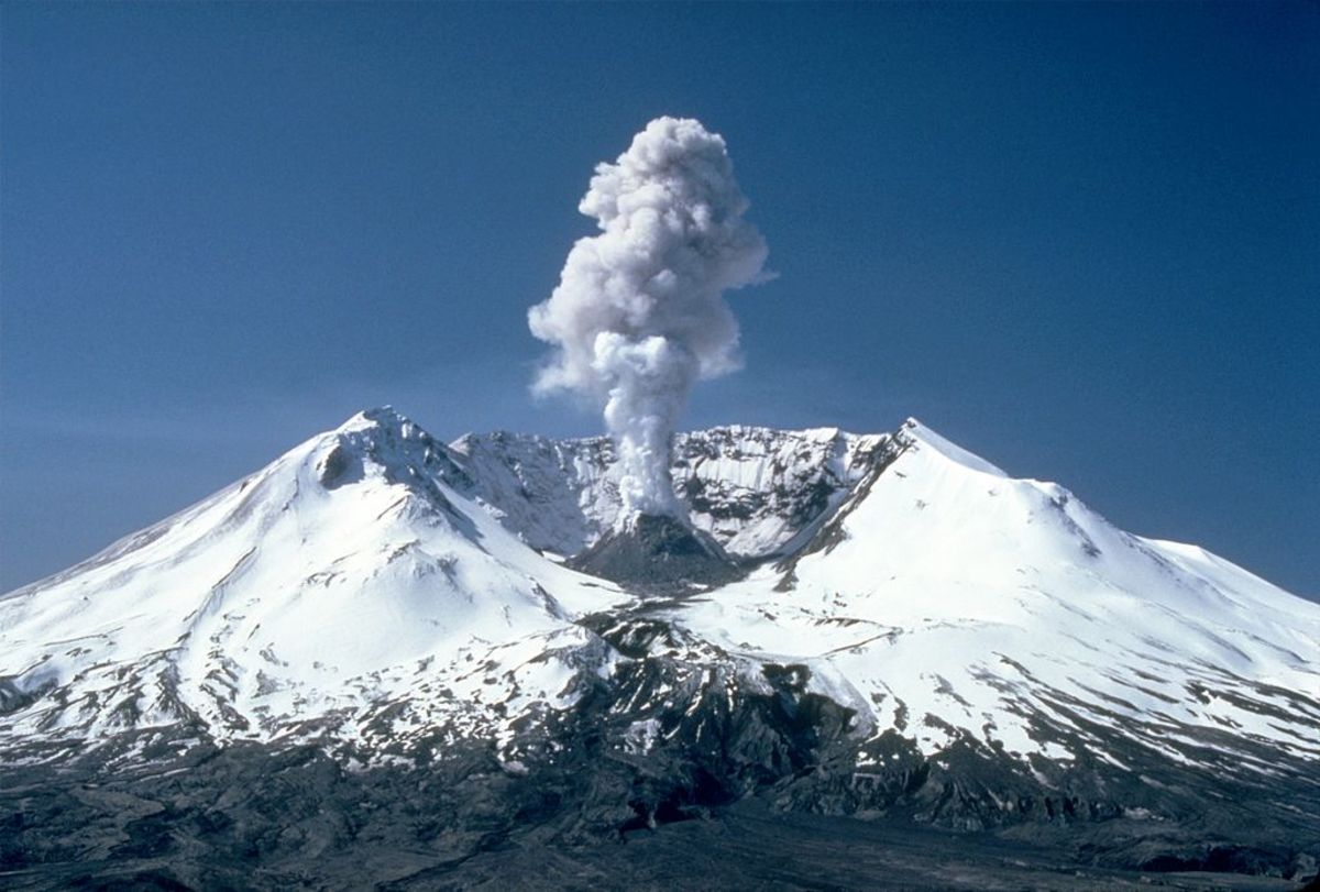 This photo from 1982 depicts how much the 1980 blast changed the shape of the mountain.