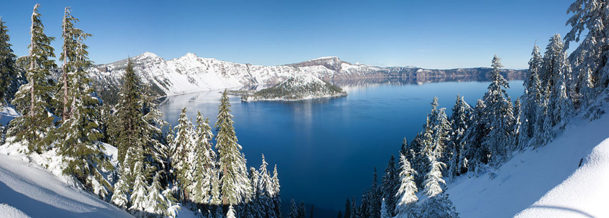 In winter, Crater Lake and the surrounding ring of mountains makes for a spectacular panorama.