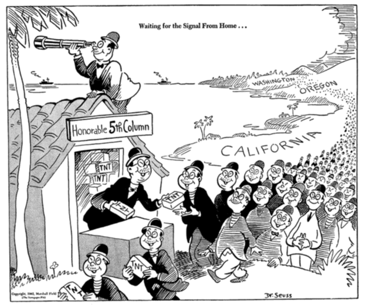 Cartoon by Theodore Geisel (later Dr. Seuss) depicting Japanese Americans as fifth columnists ready to sabotage the USA.