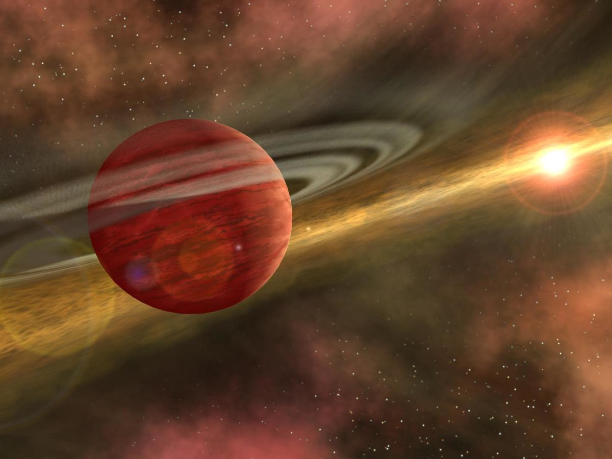 A gas giant forming in an early star system.