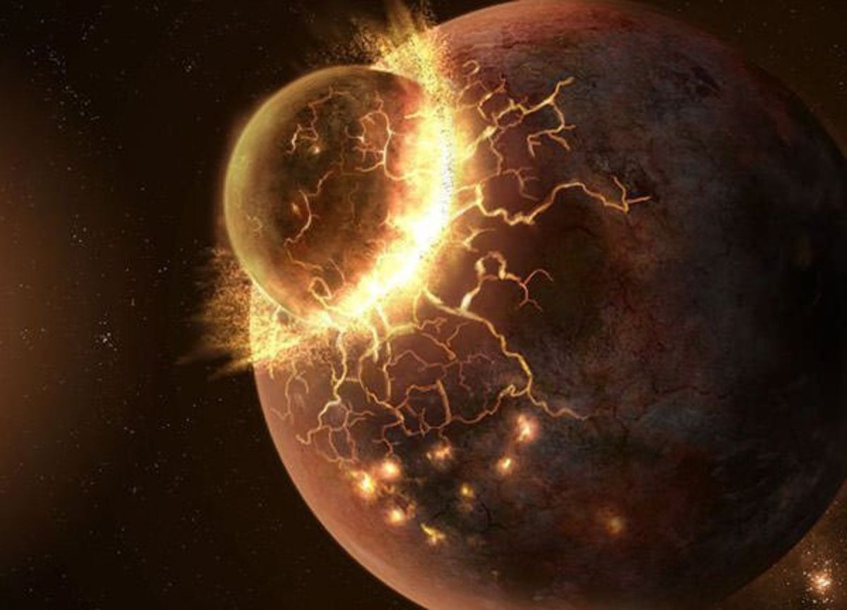 Current theories suggest that a small planet collided with Earth to form the Moon.