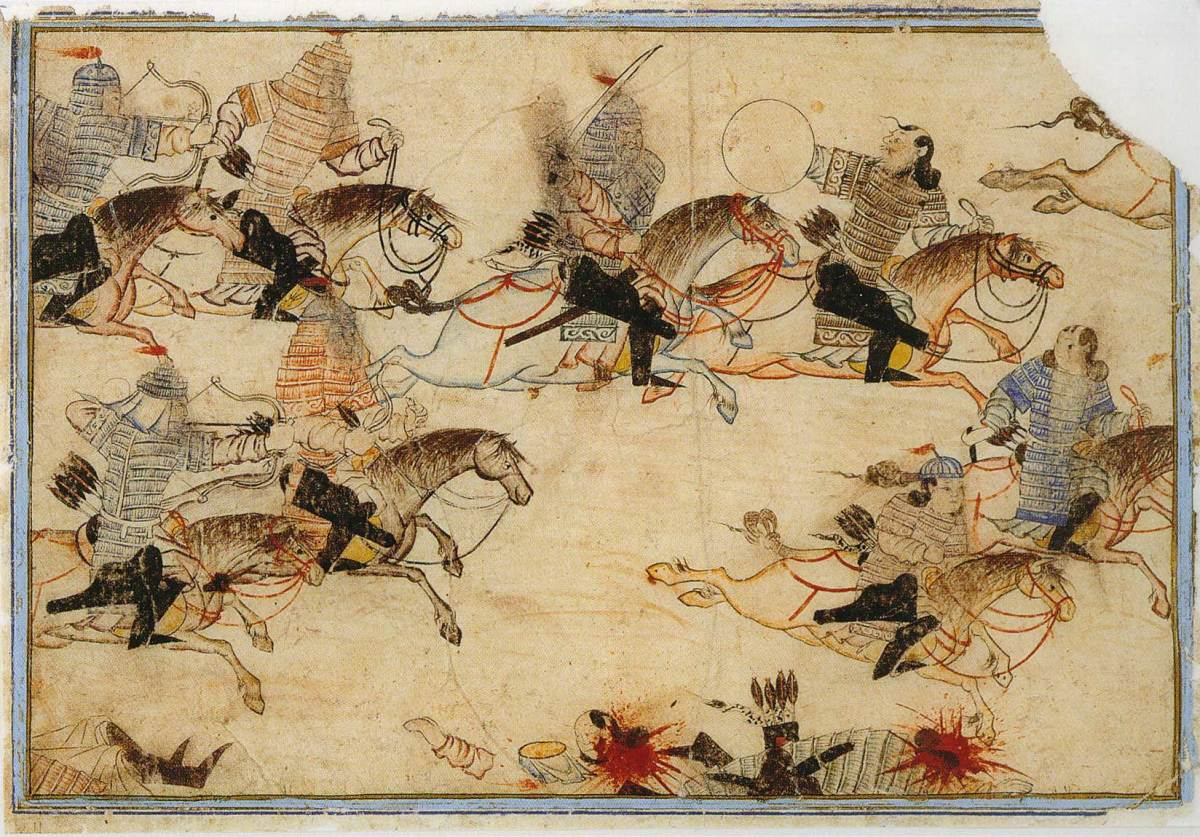 Art depicting Mongol horse archers riding down their enemies.